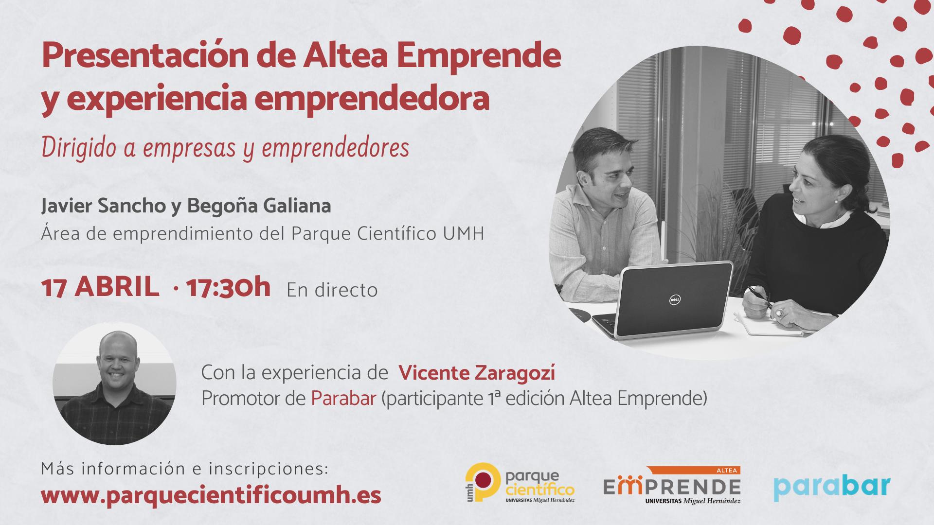 Presentación de Altea Emprende y experiencia emprendedora